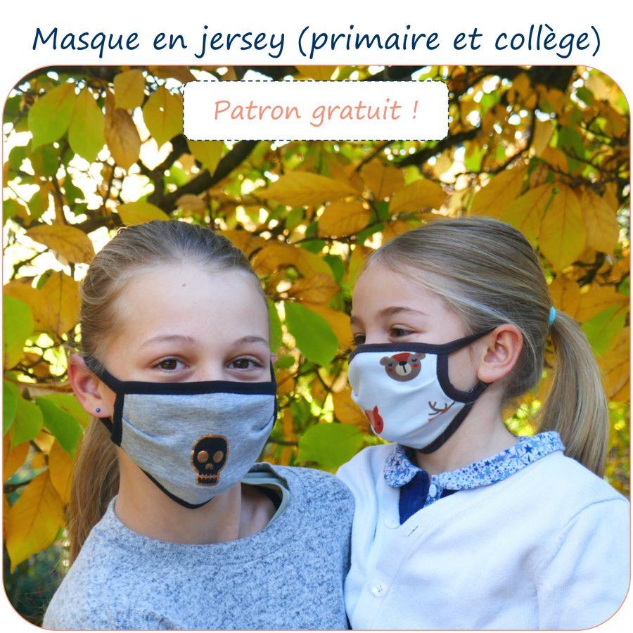 Masque en jersey pour enfants (primaire et collège)